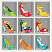 foto of platform shoes  - Set of Colorful fashion women - JPG