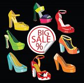 pic of platform shoes  - Set of Colorful fashion women - JPG
