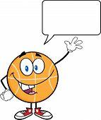 Happy Basketball Cartoon Character Waving With Speech Bubble