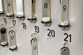 numbers and keys on a rack