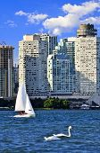 Sailboat sailing in Toronto harbour with scenic waterfront view