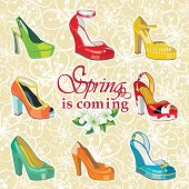 stock photo of platform shoes  - Set of Colorful fashion women - JPG