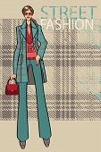Fashionable Girl In Coat.fashion Illustration