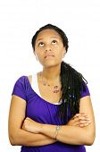 Isolated portrait of  black teenage girl with arms crossed