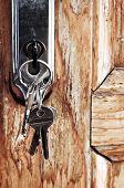 Set of keys in lock of old wooden door
