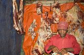 Traditional Butcher In The Dorze Village, Central Ethiopia
