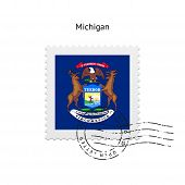 State of Michigan flag postage stamp.