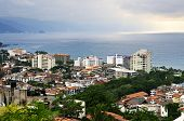 Cityscape view from above with Pacific ocean in Puerto Vallarta, Mexico