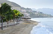 pic of malecon  - Beach and Malecon on Pacific Ocean in Puerto Vallarta - JPG