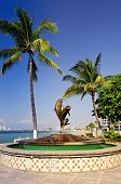 Friendship fountain on Malecon at Pacific ocean in Puerto Vallarta, Mexico