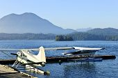 Seaplanes at dock in Tofino on Pacific coast of British Columbia, Canada