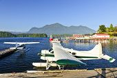 foto of pacific rim  - Seaplanes at dock in Tofino on Pacific coast of British Columbia - JPG