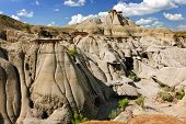 View of the Badlands and hoodoos in Dinosaur provincial park, Alberta, Canada