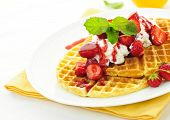 image of whipping  - Plate of belgian waffles with fresh strawberries and whipped cream - JPG