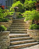foto of planters  - Natural stone stairs landscaping in home garden - JPG