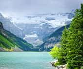 Landscape of beautiful Lake Louise and mountains in Alberta, Canada