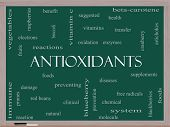 Antioxidants Word Cloud Concept On A Blackboard