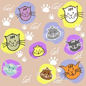 Seamless set different colors cats with inscription and paw prin