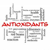 Antioxidants Word Cloud Concept In Red Caps