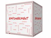 Empowerment Word Cloud Concept On A 3D Cube Whiteboard