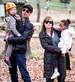 BUDAPEST - NOVEMBER 5: Brad Pitt and Angelina Jolie take their children Pax, Zahara and Shiloh to a