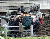 ESZTERGOM, HUNGARY - NOV 10: Angelina Jolie and Brad Pitt on the set of her directorial debut In The Land Of Blood And Honey filming in Esztergom, Hungary, on Wednesday, November 10, 2010.