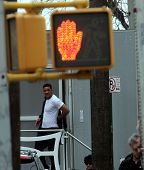 NEW YORK CITY - APRIL 15: Actor Will Smith seems surprised to find fans waiting for him outside his trailer while working on the set of