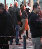 ESZTERGOM, HUNGARY - NOVEMBER 13: Angelina Jolie directs a night shoot on the set of directorial debut