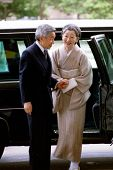 WASHINGTON, D.C., 12 AUGUST 1994 -- Japanese Emperor Akihito and Empress Michiko arrive at the Kenne