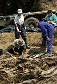 SREBRENICA, BOSNIA - JUNE 12: United Nations forensic experts unearth victims from a mass grave. The victims are among the estimated 8000 civilians killed by Bosnian Serb soldiers in July 1995 on June 12, 1996 in Srebencia, Bosnia.