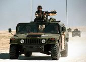 KUWAIT-IRAQ BORDER - FEBRUARY 19: United States Army troops patrol the Kuwaiti border with Iraq on F