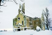 SLUNI, CROATIA - December 10: A Roman Catholic church lies in ruins after a battle between Croatian