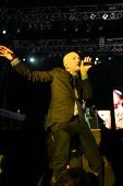 BUDAPEST, HUNGARY - AUG 16: American rock band REM perform in concert at the annual Sziget music fes