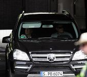 BUDAPEST - MAY 19: Actor Bruce Willis relaxes in his Mercedes SUV on the set of Die Hard 5: A Good D