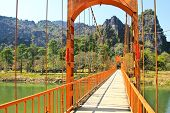 Bridge Over Song River, Vang Vieng, Laos.