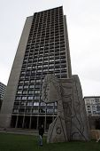 NEW YORK CITY - OCTOBER 31: In the yard of I.M. Pei's University Village stands an 60-ton concrete e