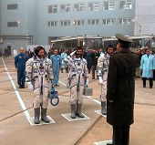 BAIKONUR COSMODROME - OCTOBER 31:  The crew of the first mission to permanently man the internationa