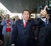 VIENNA - MAY 11: Venezuelan President Hugo Chavez greets a crowd in Vienna, Austria, on Thursday, May 11, 2006.