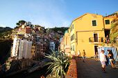 RIOMAGGIORE - ITALY: AUG 17: The town of Riomaggiore, Italy, on Sunday, August 17, 2013. The village is one of five making up Cinque Terre.