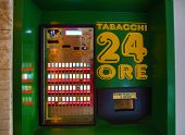MONTEROSSO - ITALY: AUG 17:  A cigarette vending machine in Monterosso, Italy, on Sunday, August 17,