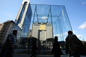 NEW YORK CITY - OCT 18, 2013: Shoppers arrive at the Apple Store on 5th Avenue in Manhattan on Frida