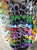 NEW YORK CITY - DECEMBER 28, 2013: Novelty glasses celebrating New Year's Eve 2014 on display at a s