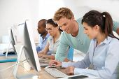 stock photo of mating  - Group of young adults in business training - JPG