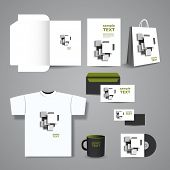 Stationery, Corporate Image Design with White and Grey Squares