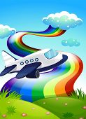 Illustration of a jetplane near the hilltop with a rainbow