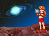 image of outerspace  - Illustration of a lady superhero at the outerspace - JPG