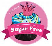 Illustration of a pink sugar free label on a white background