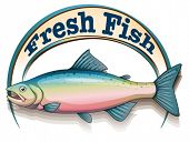 Illustration of a fish with a fresh fish label on a white background
