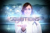 The word solutions and portrait of female nurse holding out open palm against futuristic technology