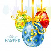Easter festive background with painted eggs, golden bows and ribbons